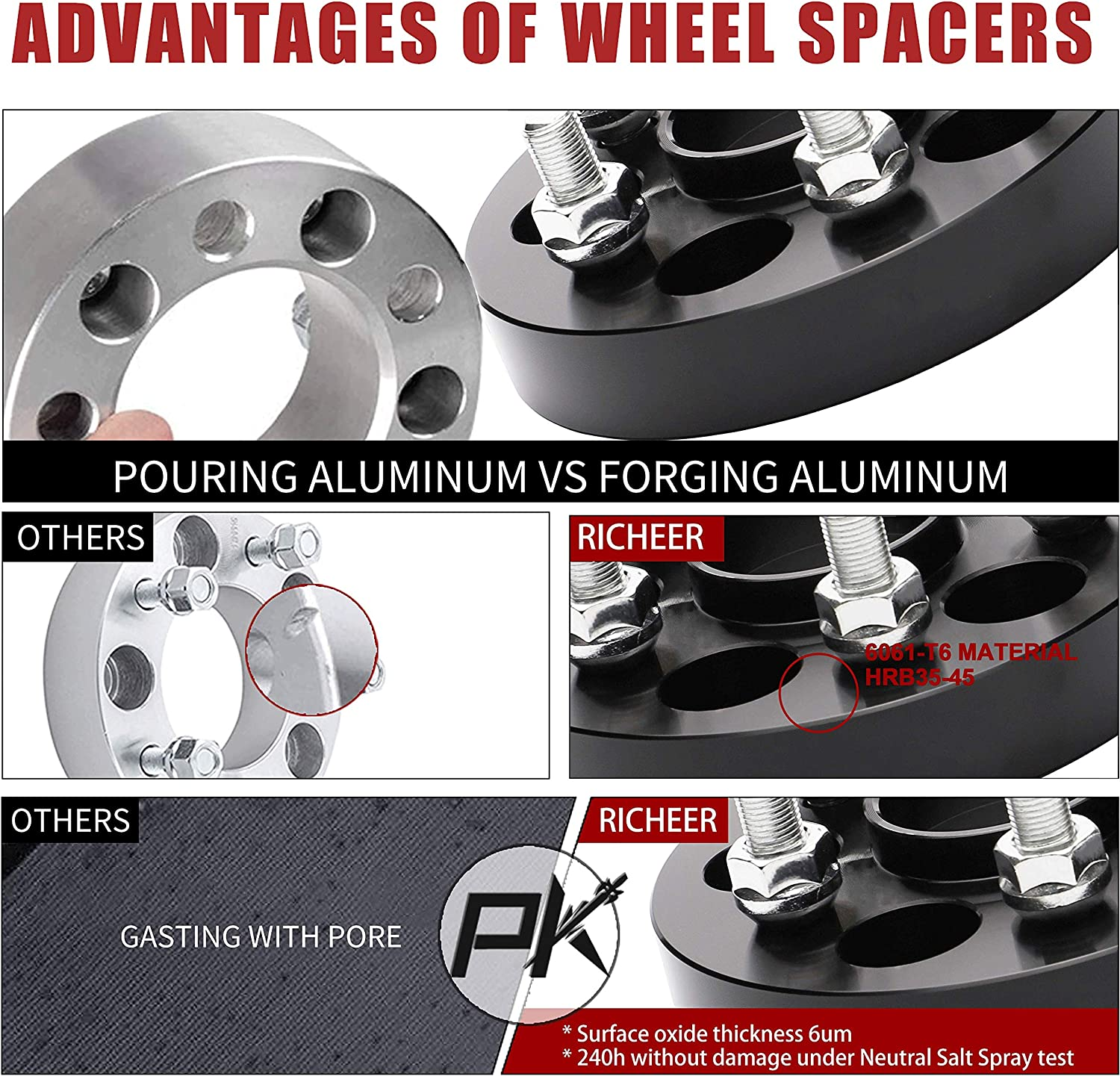 Richeer Wheel Spacers 5x4.5 for 350Z 370Z 300Zx 240Sx G35 G37,Forged spacers 1 inch 12x1.25 Studs/&66.1mm Center Bore. 5X114.3mm
