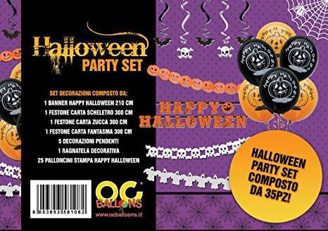 Set Party Halloween Decorazioni Pendenti Festone Palloncini Ghirlanda  Ragnatela Scheletro Zucca (35pz) d3cd187ddaa9