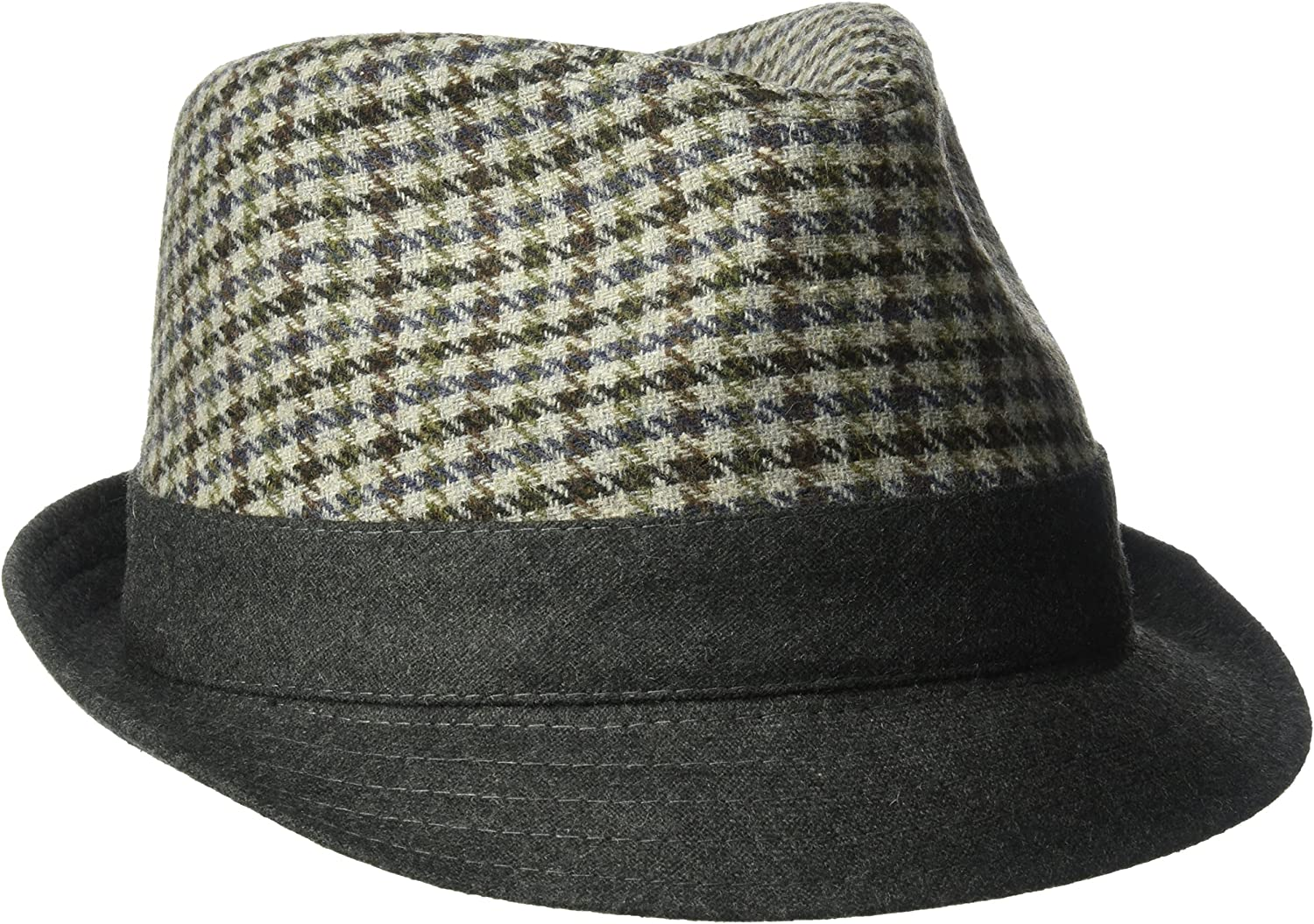 Henschel Mens Wool Blend Plaid Fedora with Solid Brim and Band