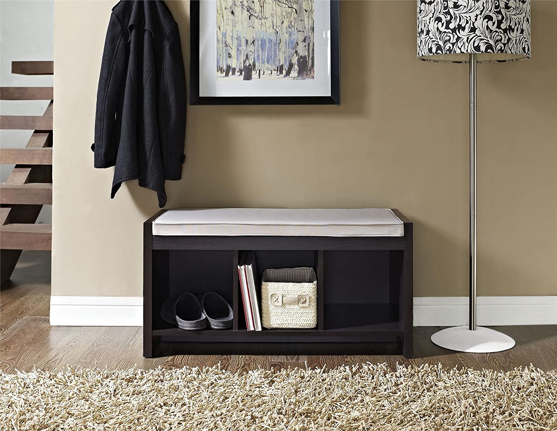 Amazon.com: Ameriwood Home Penelope Entryway Storage Bench With Cushion,  Espresso: Kitchen U0026 Dining