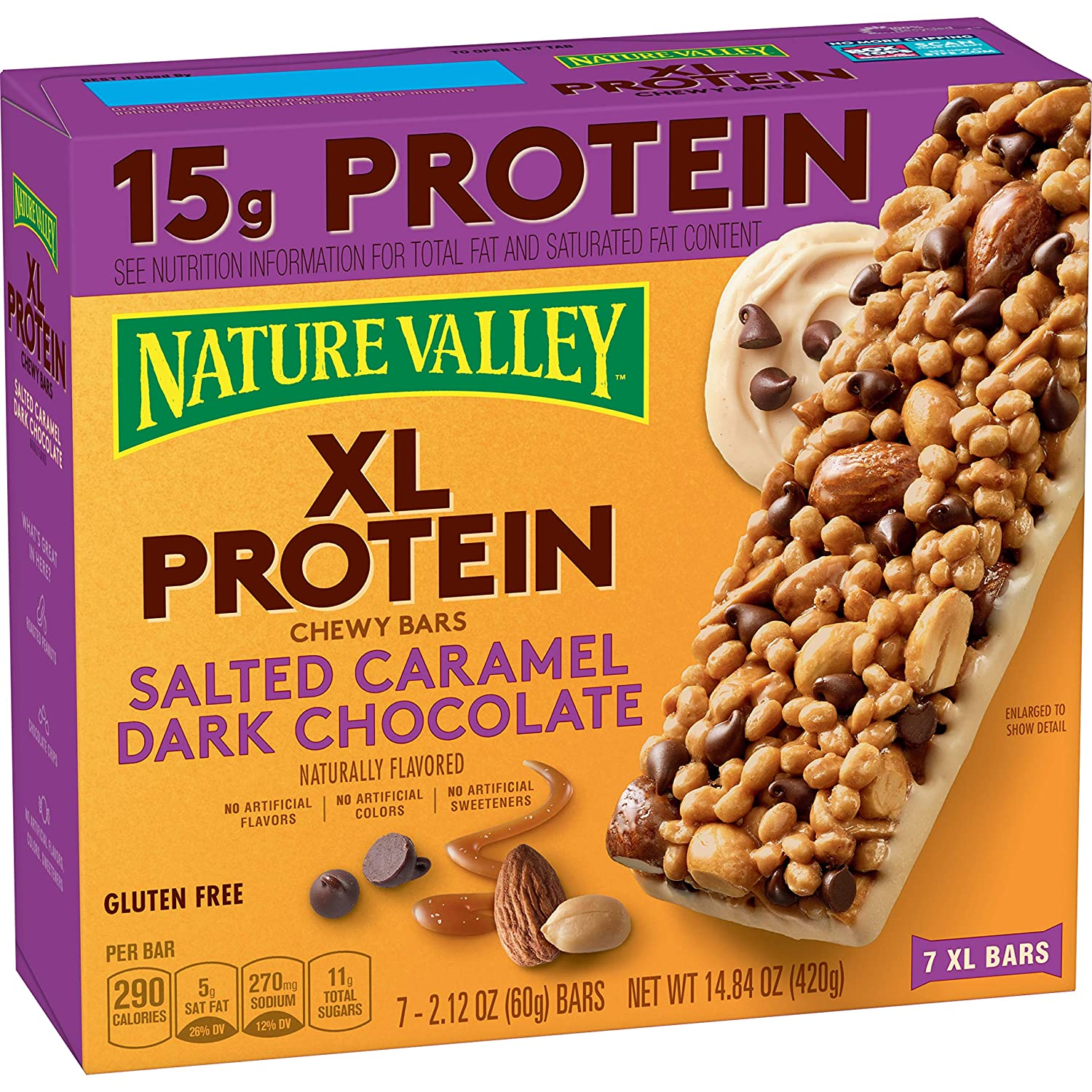 Protein One Nature Valley XL Protein Chewy Bar, Salted Caramel Dark Chocolate, 2.12oz 7 count, 14.84 oz