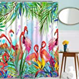 multi14 Tropical Fruit Decor Pineapple Palm Leaves Flowers Shower Curtain Suit With Non-slip Floor Mat Bath Rugs Green Easy To Lubricate