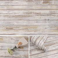 Arthome Grey Distressed Wood Paper 43,5 × 305 cm, zelfklevend, afneembare houten schaal en stick, vinyl decoratieve…