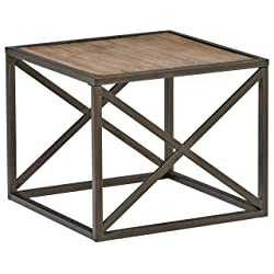 "Stone & Beam Roland X-Frame End Table, 24"" W, Pine"