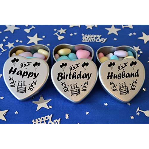 Happy Birthday Husband Gift Set Of 3 Silver Mini Heart Tins Filled With Chocolate Dragees