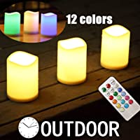 "Outdoor Flameless Pillar Candles Decorative ,3 x 4""Battery Operated Weatherproof Candles with Remote Control & Timer Set of 3,Color Changing LED Flickering Candles, For Candle Holders,Candle Lantern"