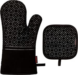 SHAWNTOO Hot Pads and Oven Mitts 2pcs Set, 1pcs Oven Mitts Heat Resistant 500 Degrees and 1pcs Non-Slip Pot Holders, Pefect for Cooking Baking Grilling (Black)