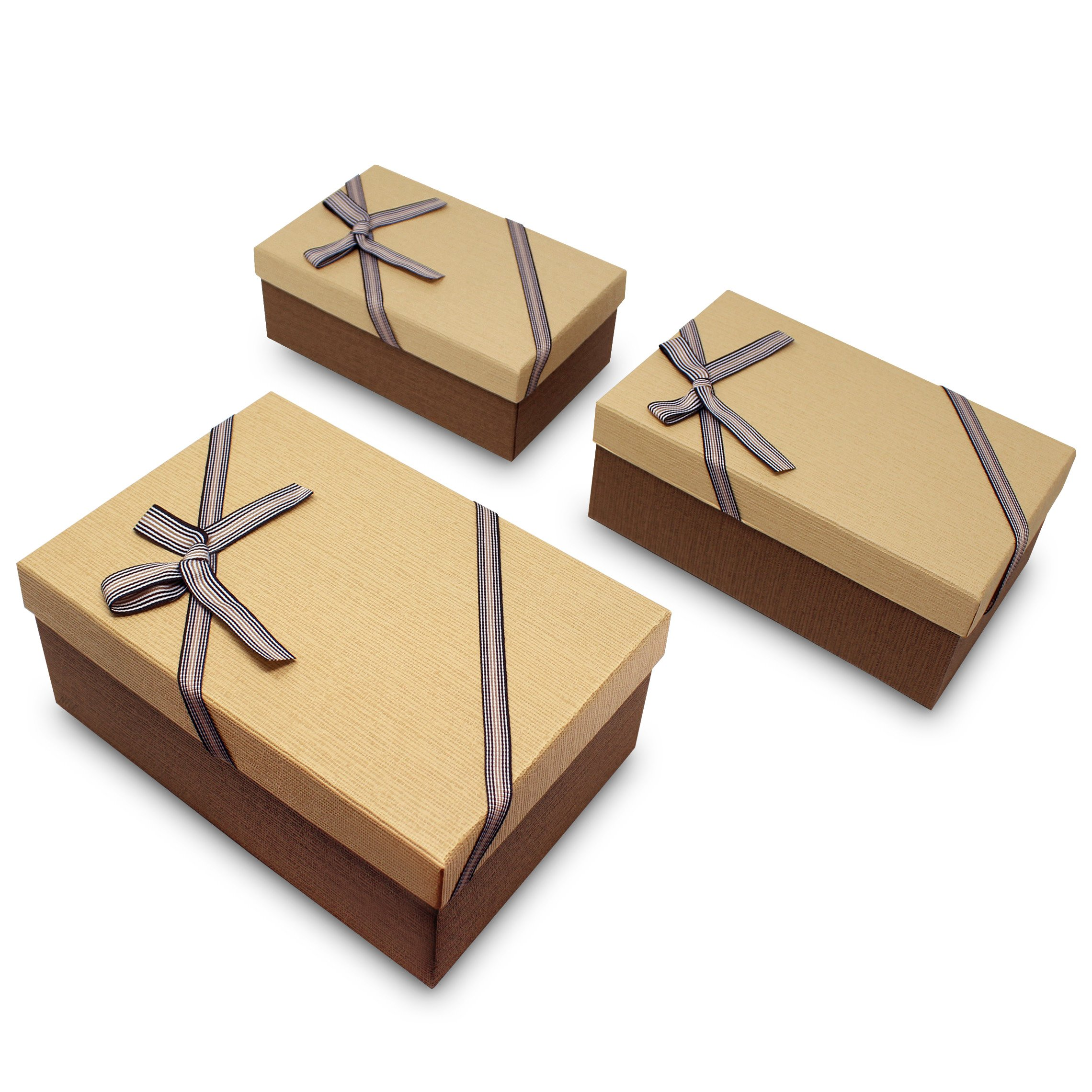 Ikee Design Elegant Decorative Nesting Gift Boxes, A Set of 3, Light Brown with A Bow tie