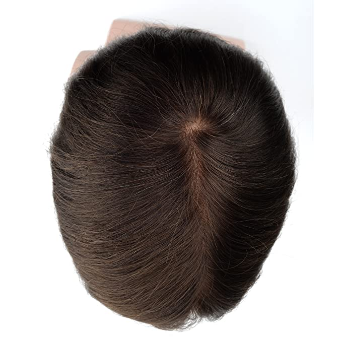 Lordhair Human French Lace Hair Replacement System with PU on Sides and Back Dark Brown Hair Color #3 Mens Toupee: Amazon.es: Belleza