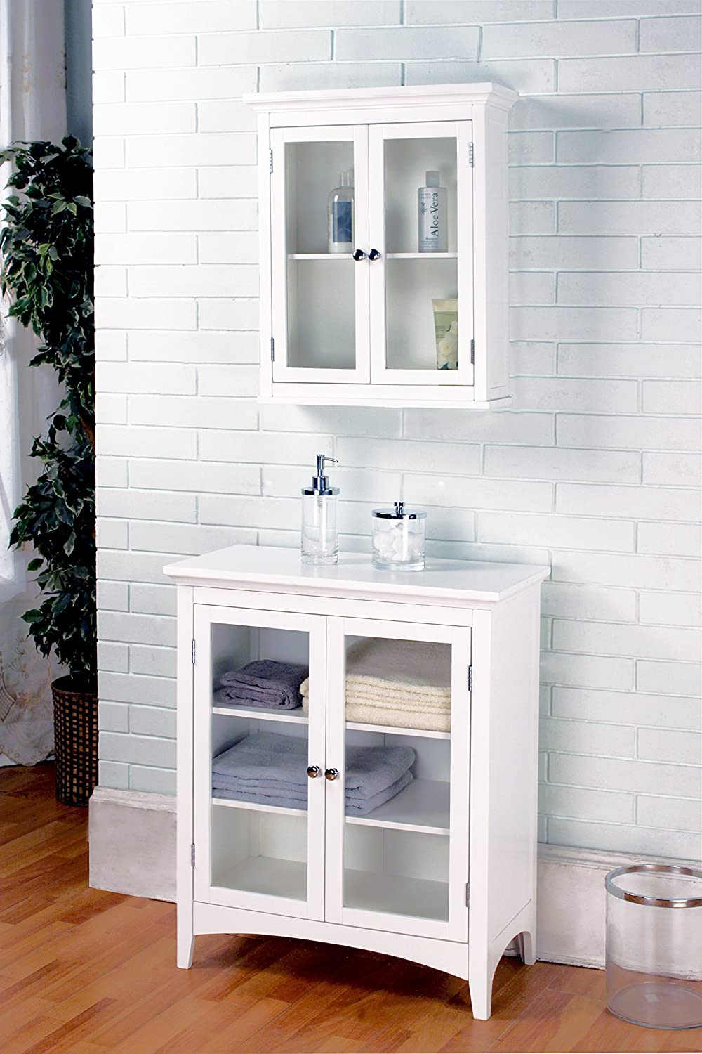 Perfect Amazon.com: Elegant Home Fashions Madison Collection Shelved Double Door Floor  Cabinet, White: Kitchen U0026 Dining