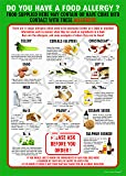 FOOD ALLERGY AWARENESS SIGN A4 (297mm x 210mm) LAMINATED 400g 14 allergens POSTER (1) The clearest food allergy notice in the food intolerance range