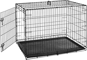AmazonBasics Single-Door & Double-Door Folding Metal Dog or Pet Crate Kennel with Tray