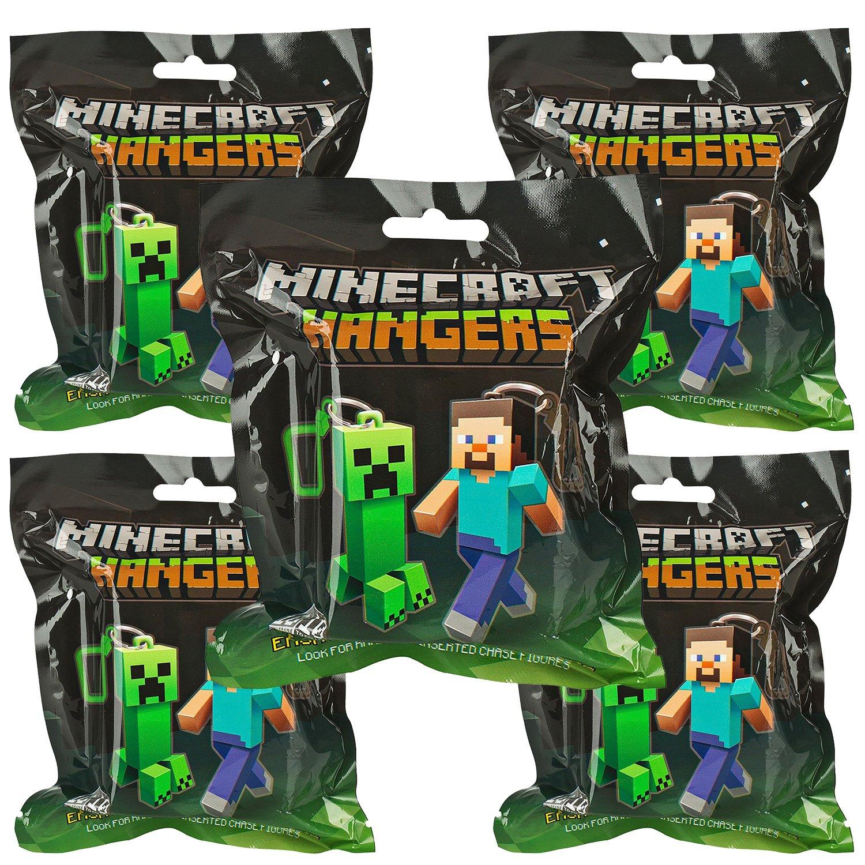 JINX Minecraft 3' Figure Hangers Blind Pack, Series 1 (Styles Vary) - 5 PACK LOT