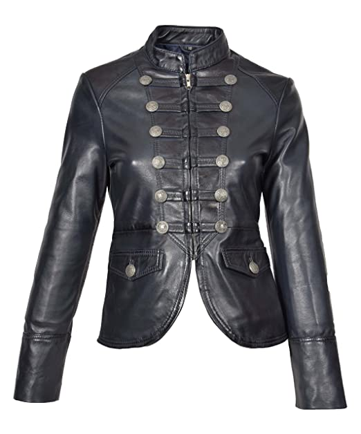 Womens Real Leather Casual Jacket Military Punk Style Slim ...