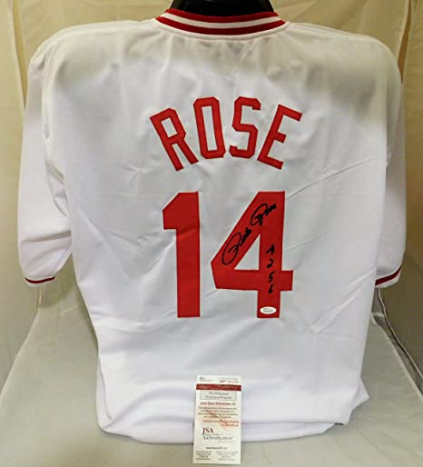 ad5c9825c Image Unavailable. Image not available for. Color  PETE ROSE Signed  Autographed Cincinnati Reds Custom Jersey 4256 Inscribed JSA COA