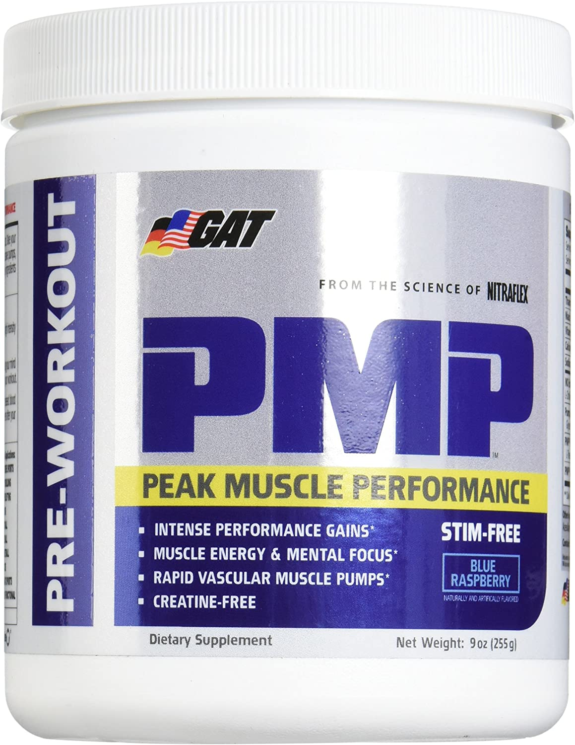 GAT Pmp Stimulant Free Supplement, Blue Raspberry, 9 Ounce
