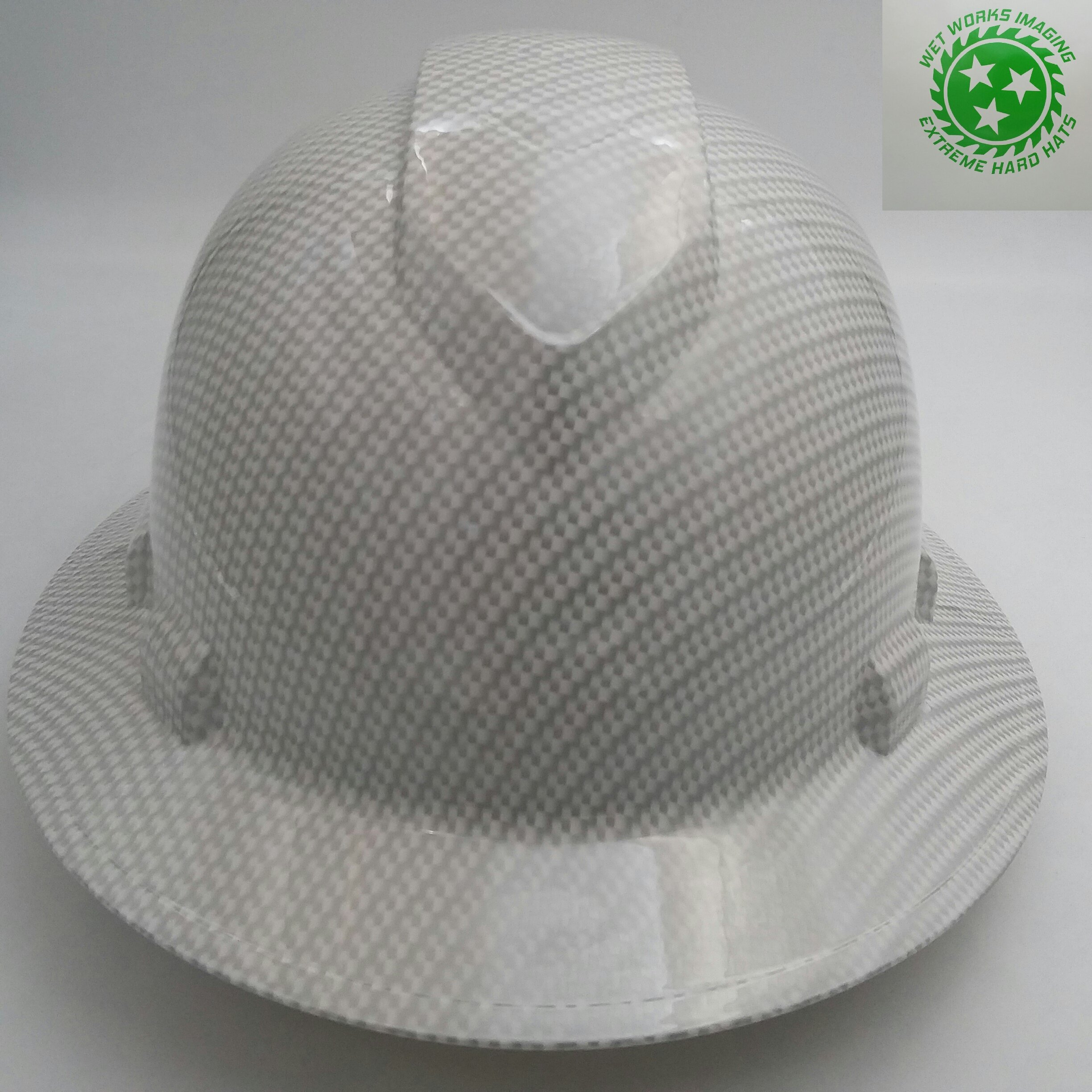 Wet Works Imaging Customized Pyramex Full Brim White Carbon Fiber Hat with Ratcheting Suspension Hydro Dipped