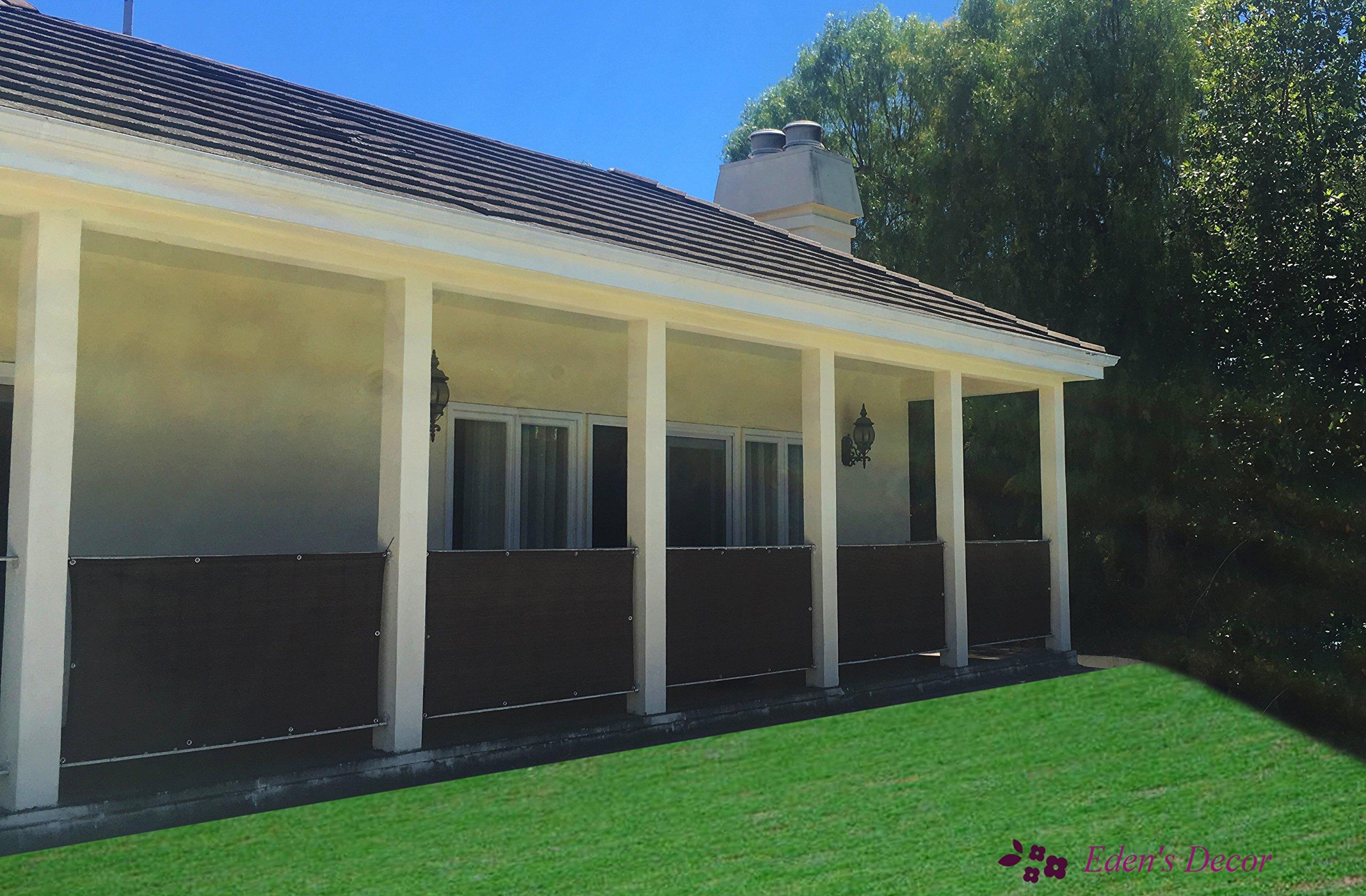 Eden's Decor Customizable Privacy Screen Mesh Windscreen For Backyard Deck, Patio, Balcony, Pool, Porch, Fence, Railing, Gardening (35'' X 60'' Inches, Brown)