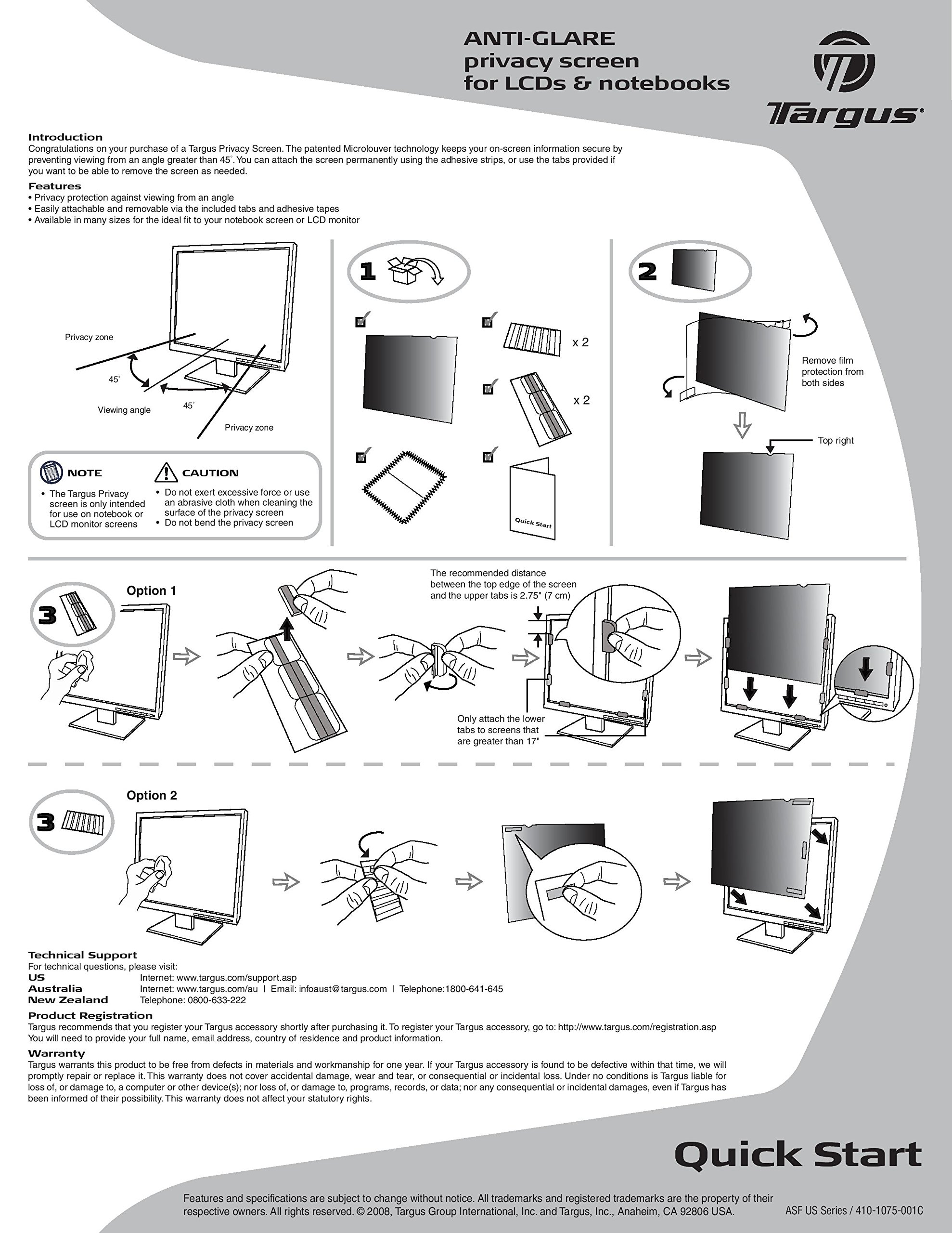 Targus 4Vu Privacy Filter Screen for 24-Inch Widescreen (16:10 Ratio) Monitors (ASF24WUSZ) by Targus (Image #2)