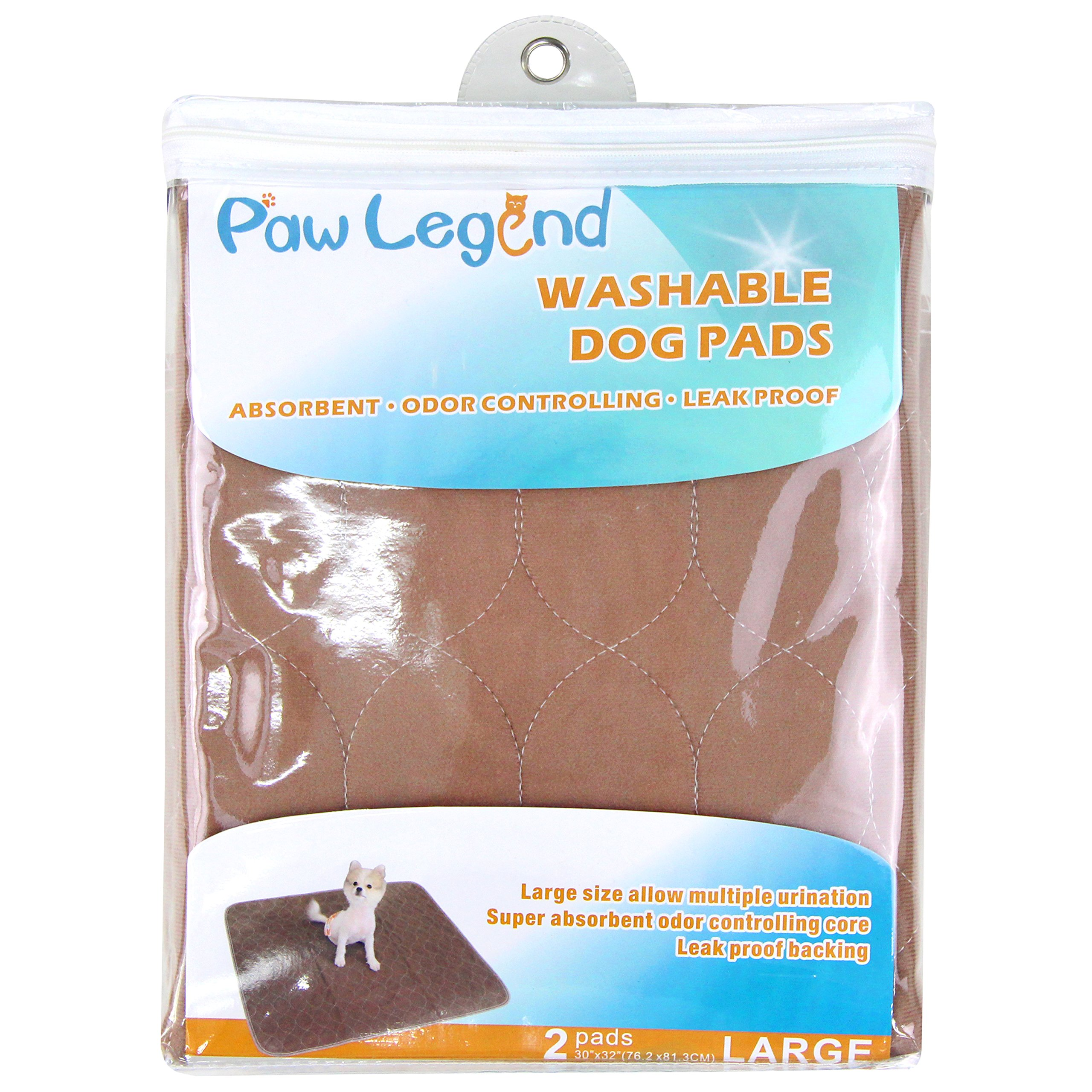 Paw Legend Reusable Dog Pee Pads (2 Pack) of 30''x32'' - Washable Dog Training Pads, Large Travel Pad for Pets(1 Brown & 1 Tan) by Paw Legend (Image #2)