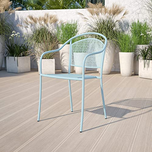Flash Furniture Commercial Grade 5 Pack Sky Blue Indoor-Outdoor Steel Patio Arm Chair
