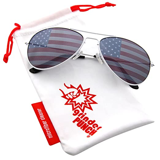 7289a49660 Amazon.com  grinderPUNCH American Flag Aviator Sunglasses Glasses Blue  Color  Clothing