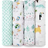 aden + anais Classic Swaddle Baby Blanket, 100% Cotton Muslin, Large 47 X 47 inch, 4 Pack, Around The World