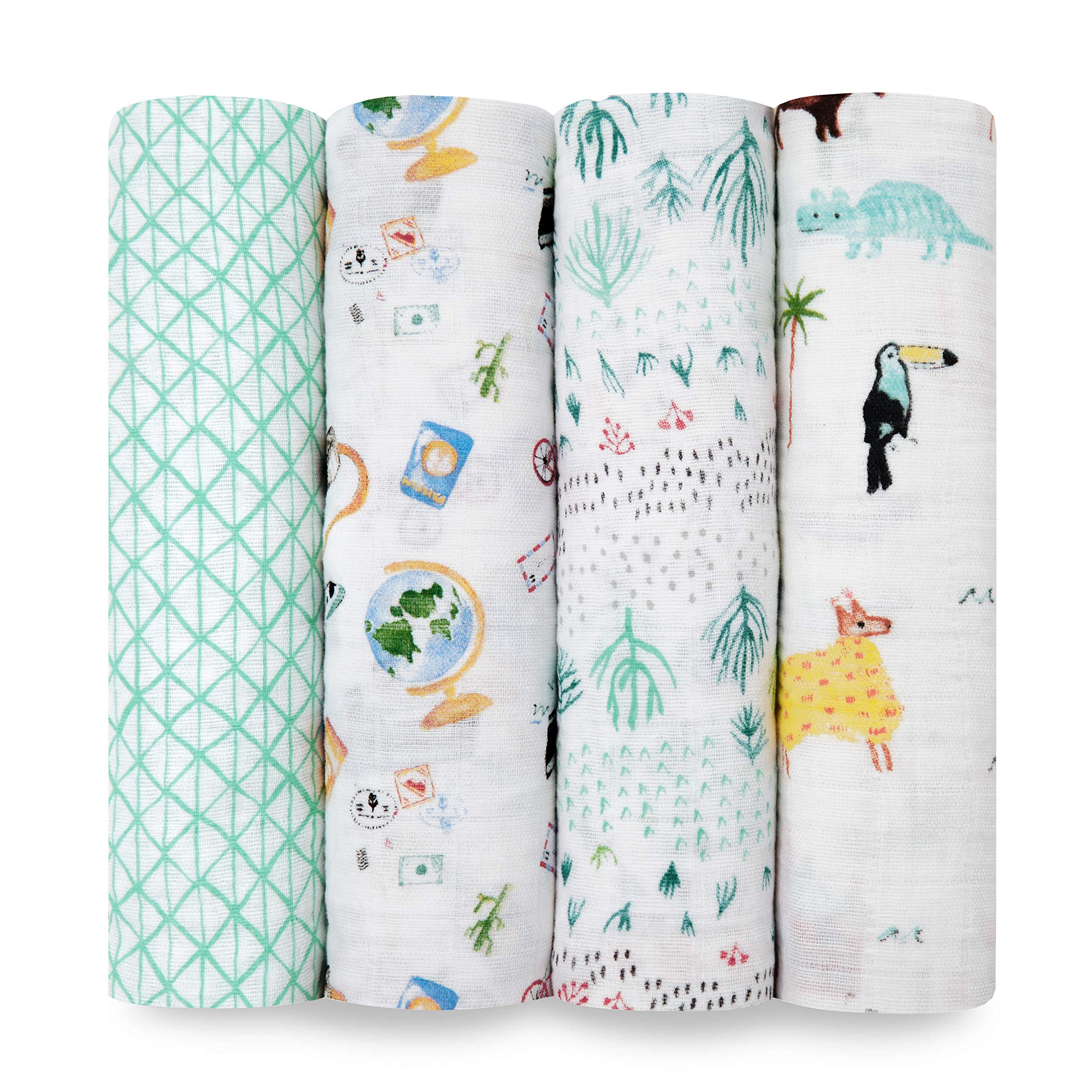 aden + anais Classic Swaddle Baby Blanket, 100% Cotton Muslin, Large 47 X 47 inch, 4 Pack, Around The World.