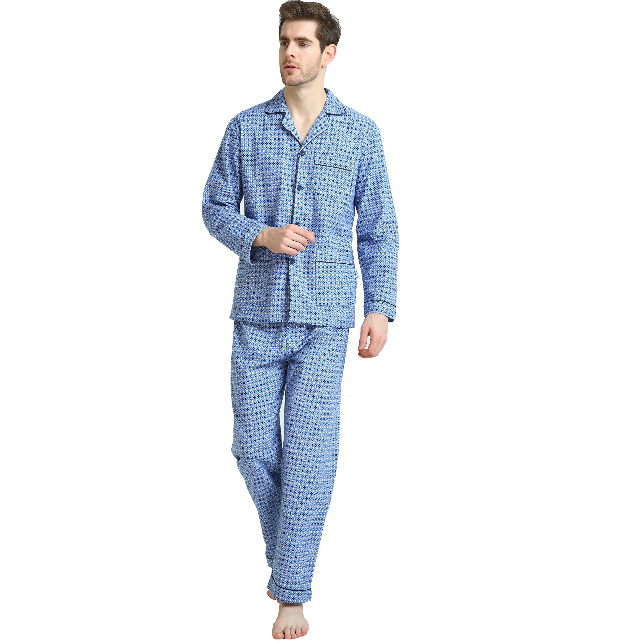 Cotton Sleepwear/Loungewear Sets for Men,100% Fleece Warm Pj Top and Bottom by GLOBAL (Image #5)