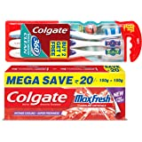 Colgate MaxFresh Spicy Fresh Toothpaste - 300 g with 360 Toothbrush (Buy 2 Get 1 Free)