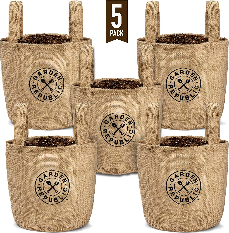 Indoor Garden Grow Bags 1 Gallon - 5 Jute Burlap Bag Fabric Pots - Plant Pot for Container Gardening Outdoor, Growing Plants Indoors, Planting Seeds, Herb Planter, Balcony Planters - Liner + Drainage