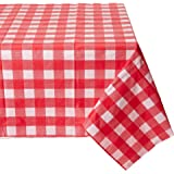 """54"""" X 108"""" Gingham Checkerboard Disposable Rectangular Plastic Table Cover (4, RED)"""