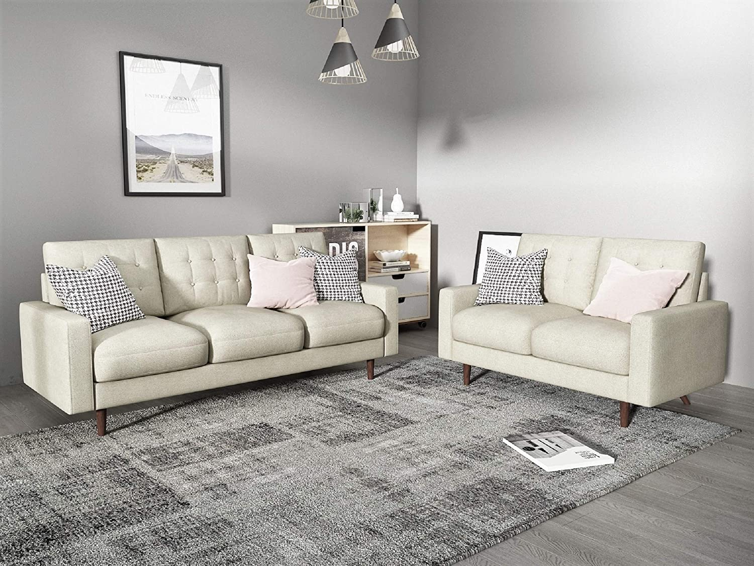Container Furniture Direct Modern Tufted Velvet Living Room Sofa Set, 11  Piece, Beige,