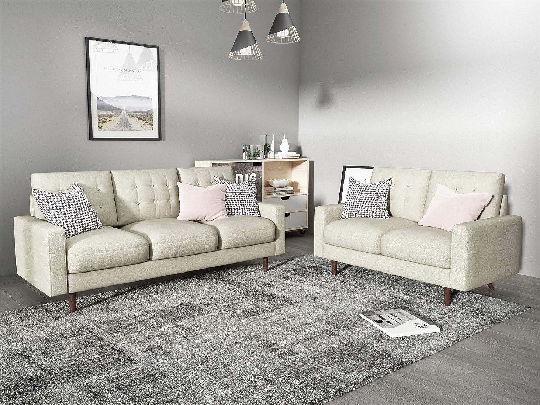 2PC Modern Tufted Velvet Living Room Sofa Set, 2 Piece, Beige