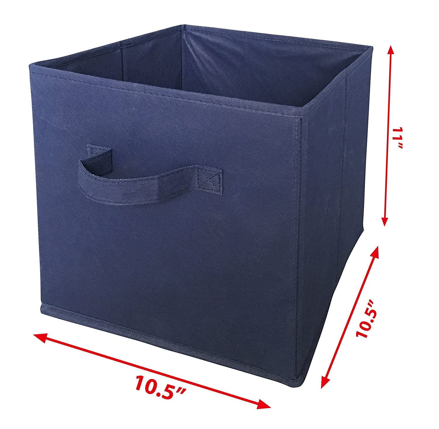 9ad32041685d SodyneeFoldable Cloth Storage Cube Basket Bins Organizer Containers  Drawers, 6 Pack, Navy Blue
