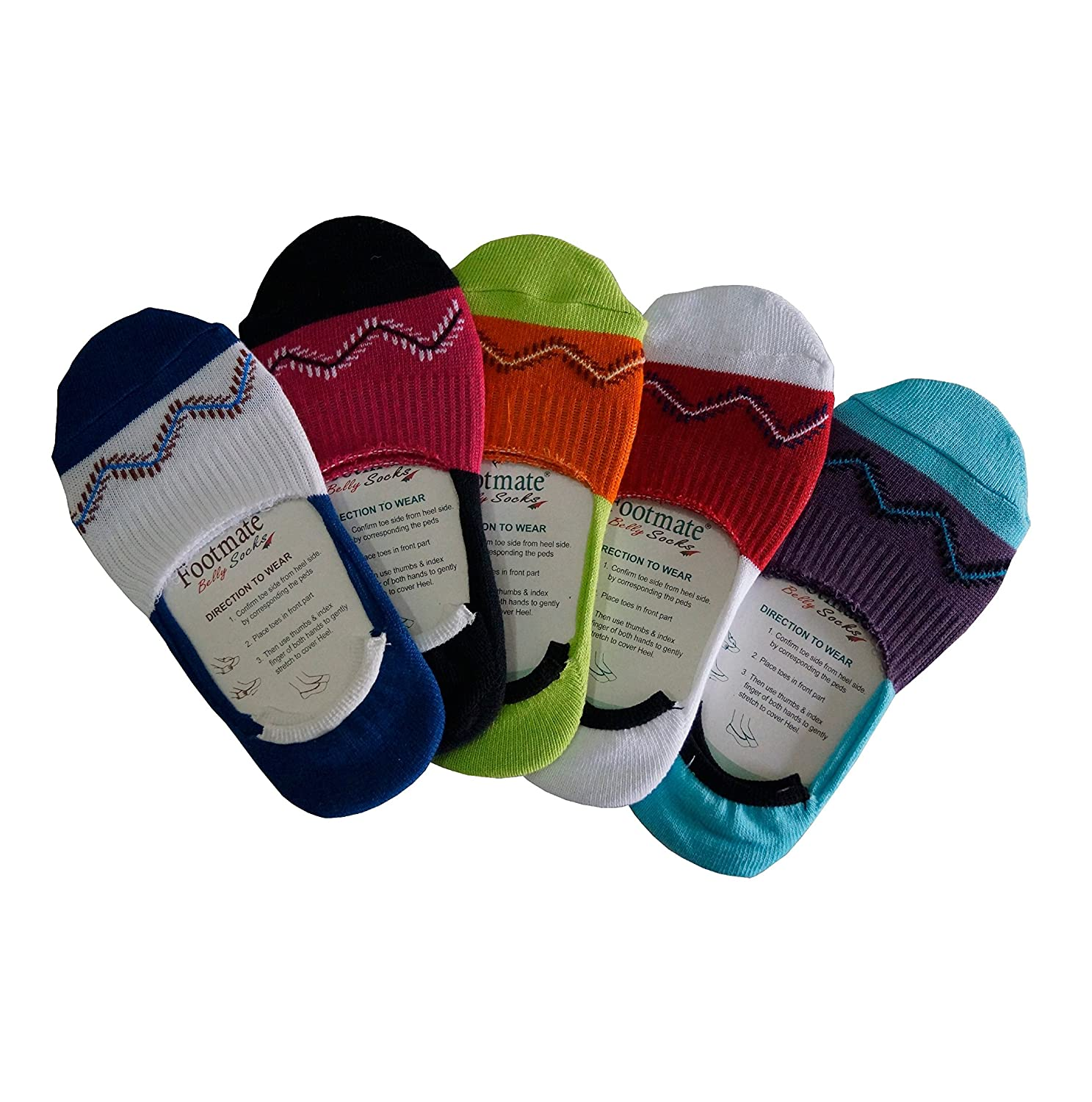 e8e7e6177 Footmate Socks Women's Cotton Lycra No Show Belly Socks (4293, Multicolour,  Free Size) - 5 Pair Pack: Amazon.in: Clothing & Accessories