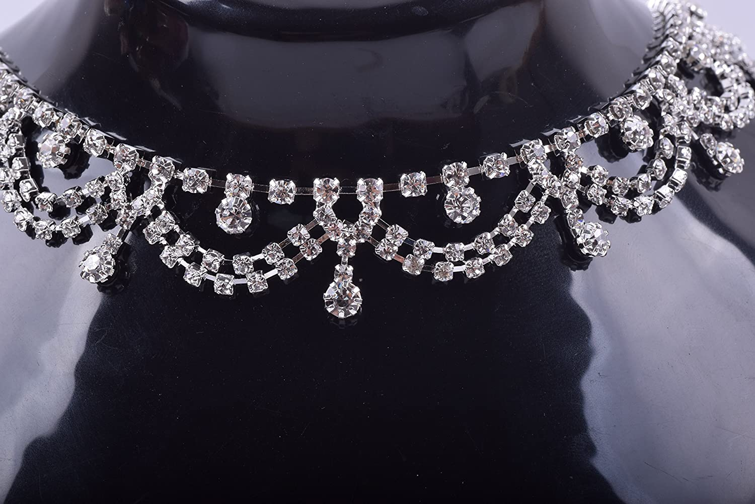 KAOYOO 1 Yard Rhombus Crystal Rhinestone Chain Trim with Clear Rhinestone Silver Brass Base Prong for Sewing Trims Wedding Decoration or as a Present for Your Friends