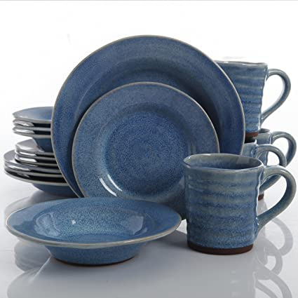 Gibson Elite Mariani Double Reactive Glaze 16 Piece Dinnerware Set Blue & Amazon.com: Gibson Elite Mariani Double Reactive Glaze 16 Piece ...
