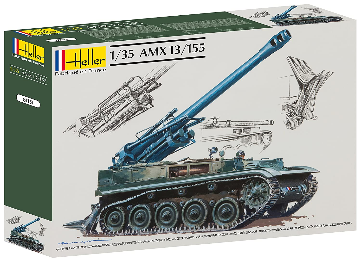 Amazon.com: Heller AMX 13/155 Self Propelled Gun Vehicle ...