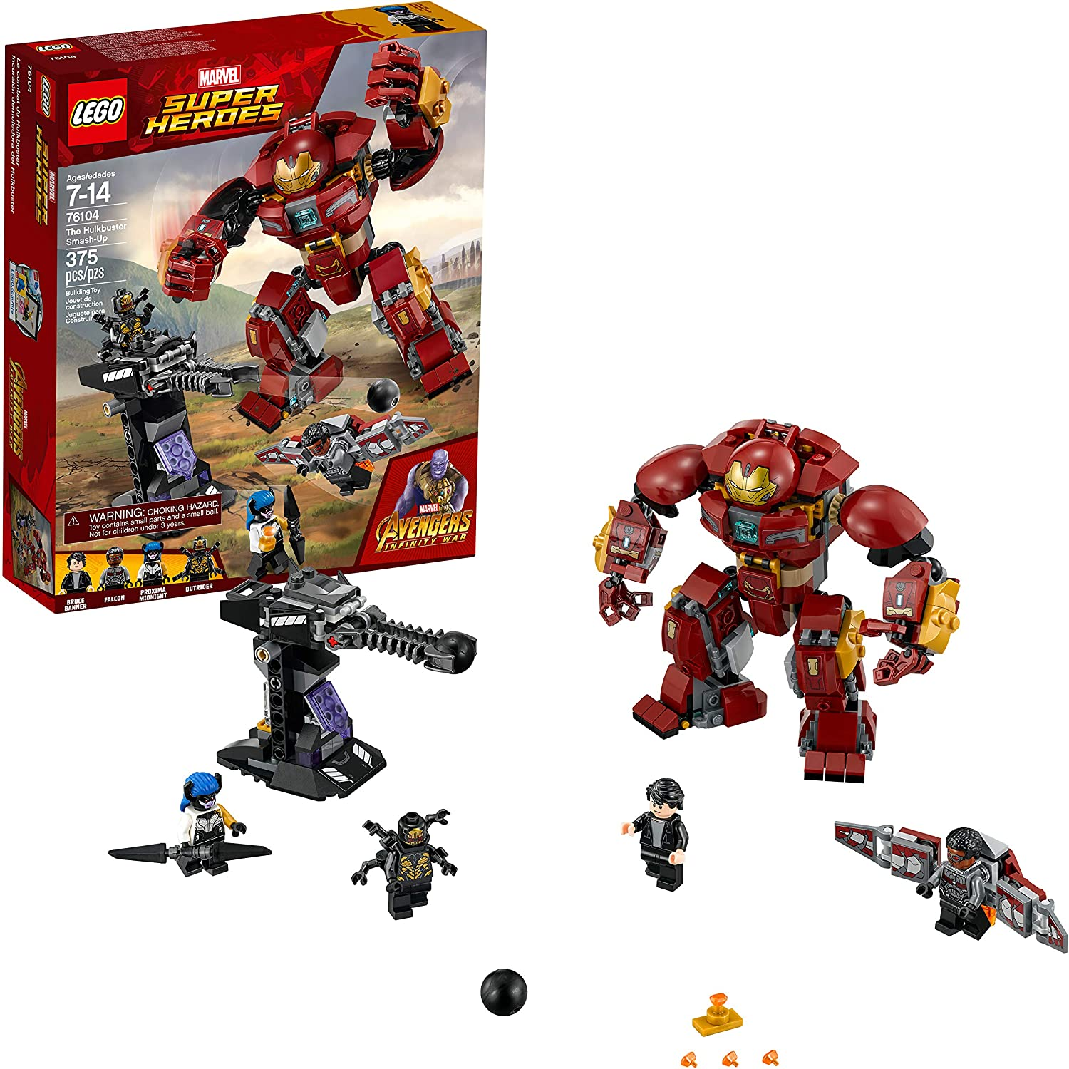 LEGO Marvel Super Heroes Avengers  Infinity War The Hulkbuster Smash-Up 76104 Building Kit features Proxima Midnight  Outrider  and Bruce Banner figures   375 Pieces