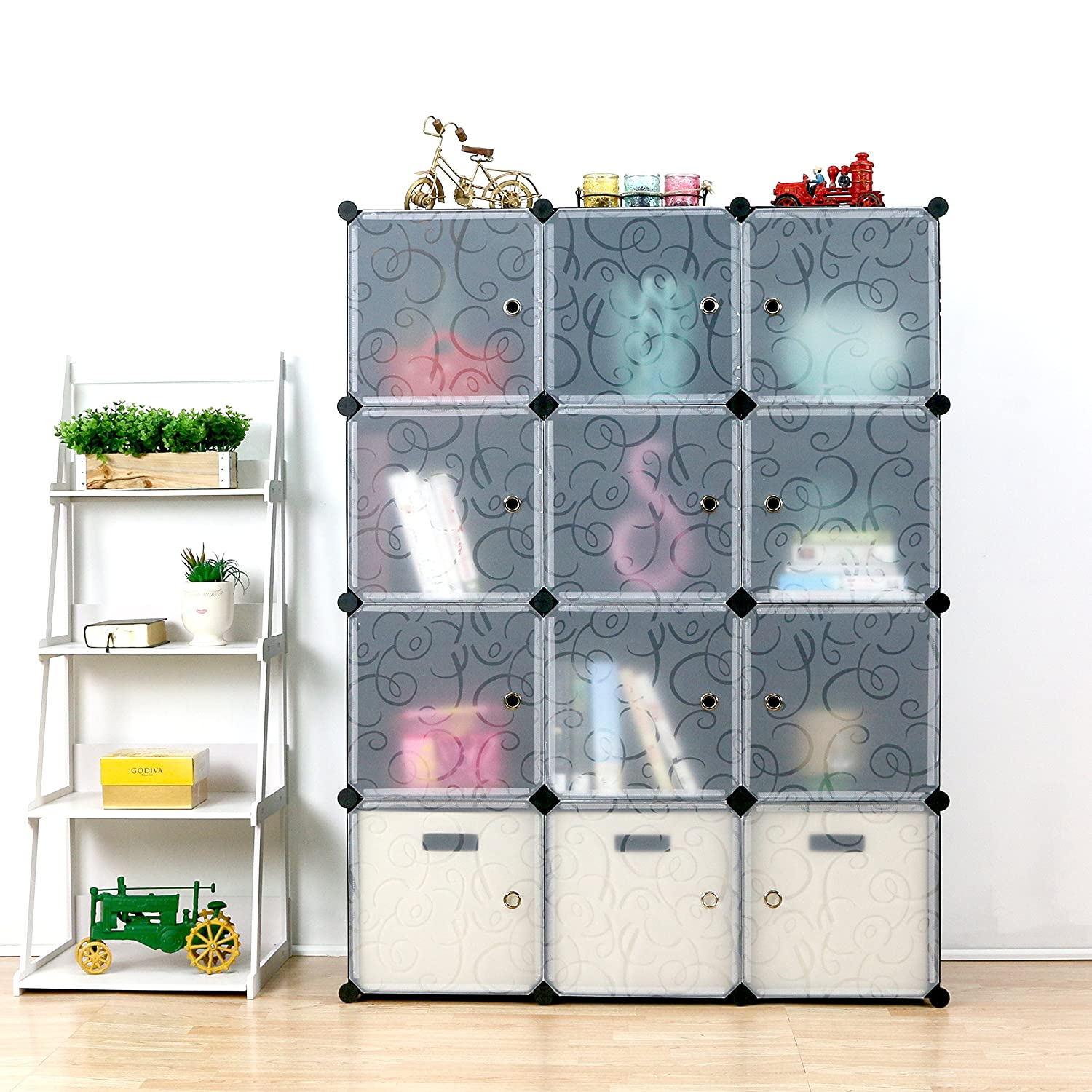Amazon.com: UNICOO Multi Use DIY Plastic 12 Cube Organizer, Wardrobe ...