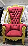 "Mahogany Wood Tiffany Queen Party Throne Chair - Red Velvet - Gold Finish - 70"" Tall"