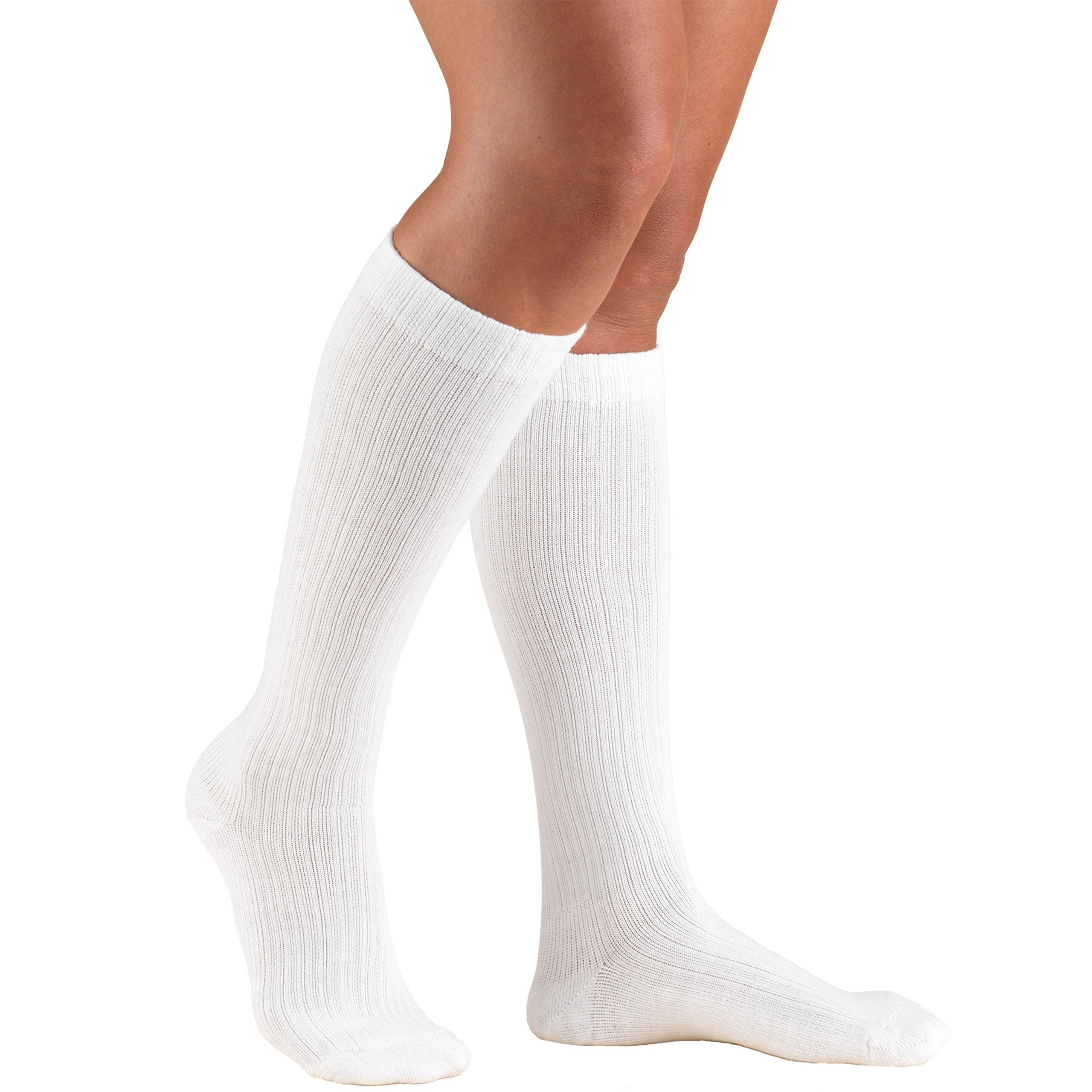 Truform Compression Socks for Women, 15-20 mmHg, Knee High, Cushion Foot, White, X-Large