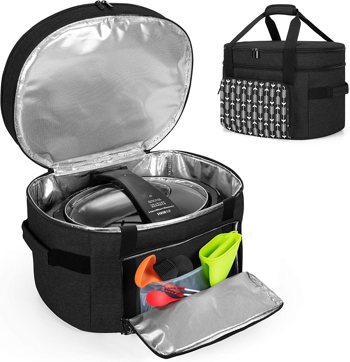 YARWO Slow Cooker Travel Bag with Bottom Board Compatible with Crock-Pot and Hamilton Beach 6-8 Quart Oval Slow Cooker, Double Layers Slow Cooker Carrier, Black with Arrow (Bag Only)