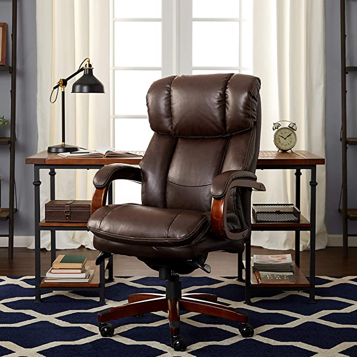 La-Z-Boy Fairmont Big & Tall Executive Bonded Leather Office Chair - Biscuit (Brown)