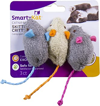 3-Count SmartyKat Skitter Critters Catnip Mice Toys