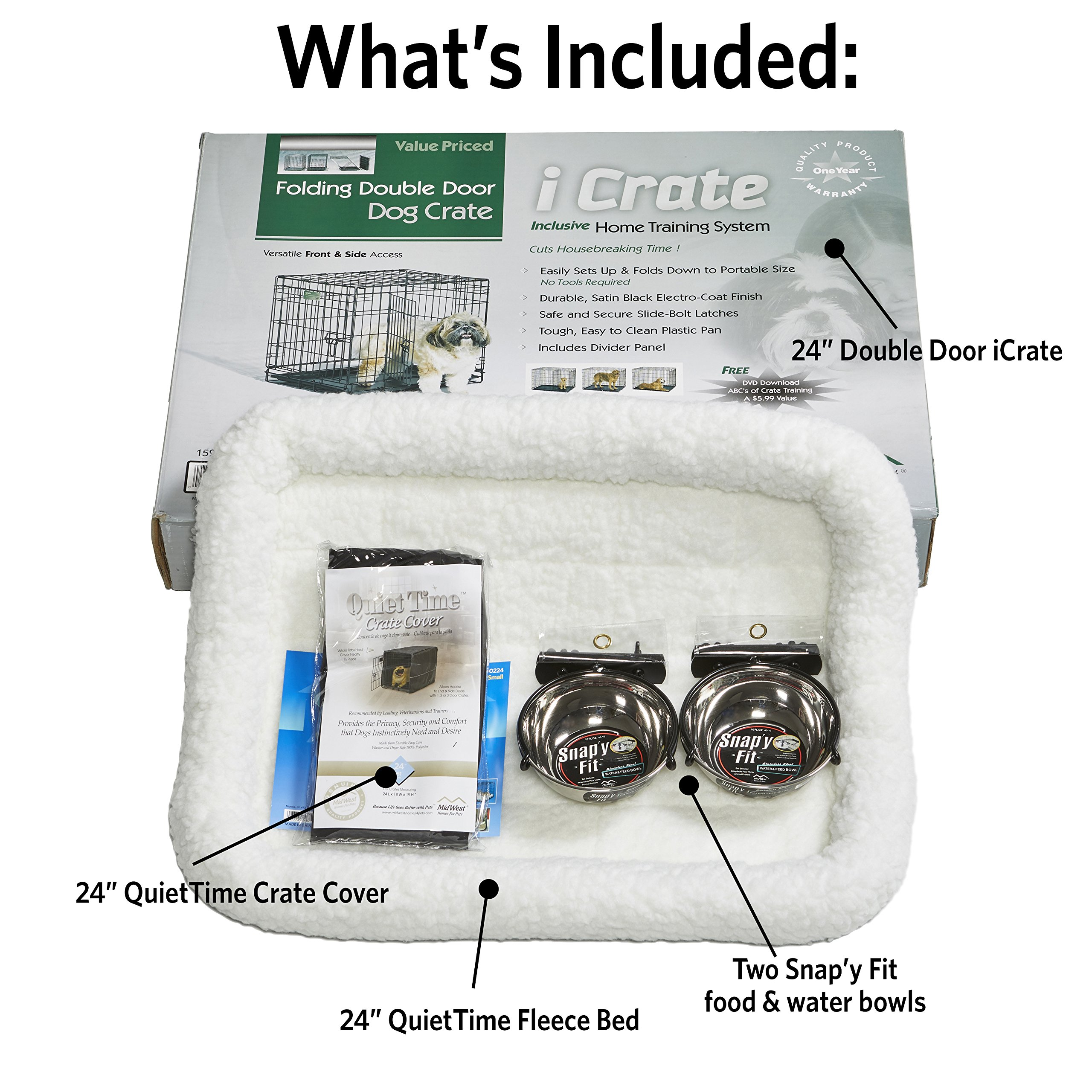 MidWest Homes for Pets Small Dog Crate Starter Kit | One 2-Door iCrate, Pet Bed, Crate Cover & 2 Pet Bowls | 24-Inch Ideal for Small Dog Breeds by MidWest Homes for Pets (Image #2)