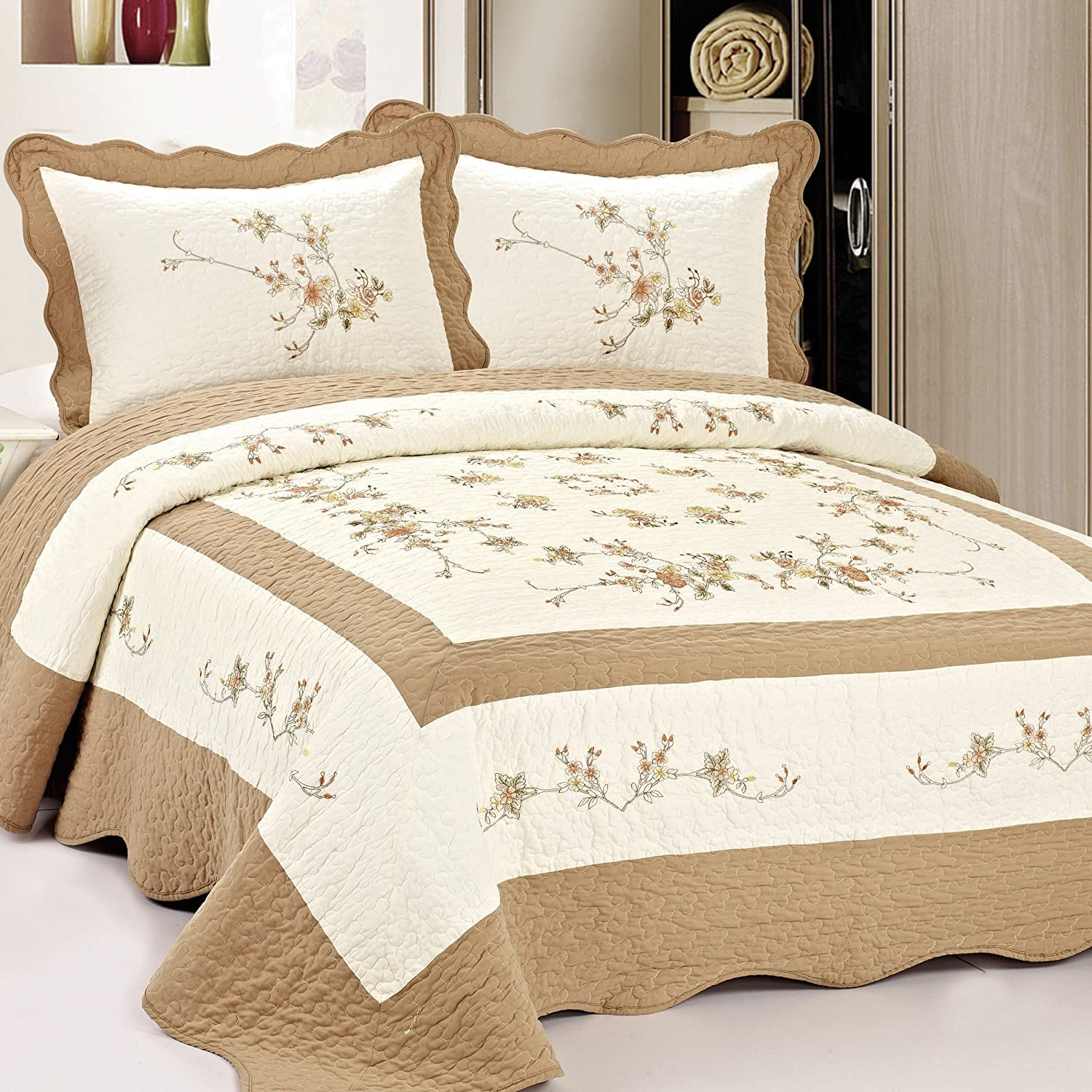 Fashion St. Vineyard Autumn Memphis Mall Sales for sale Pre-Washed 86 by 94-Inch Bei Quilt
