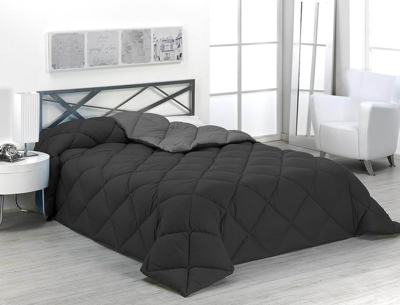 Sabanalia - Edredón nórdico de 400 g reversible (bicolor), para cama de 90/105 cm, color gris y negro