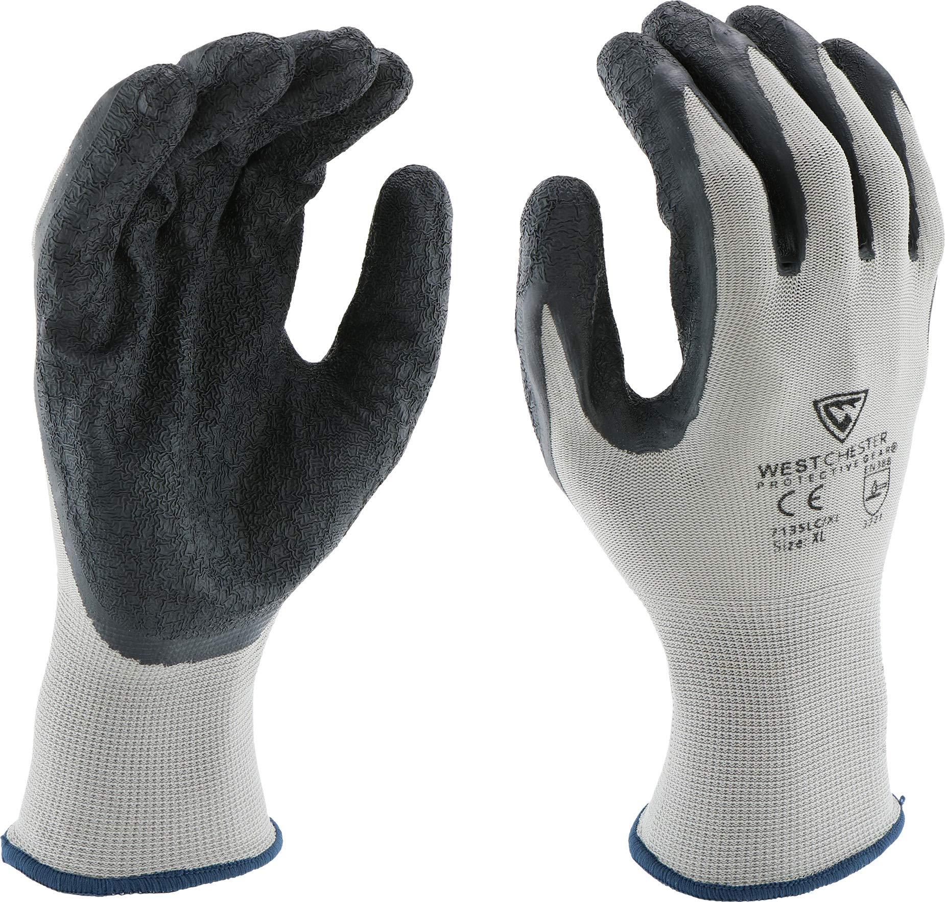 West Chester 713SLC M Latex Coated Multipurpose Work Glove, Medium, Black Gray (Pack of 12)